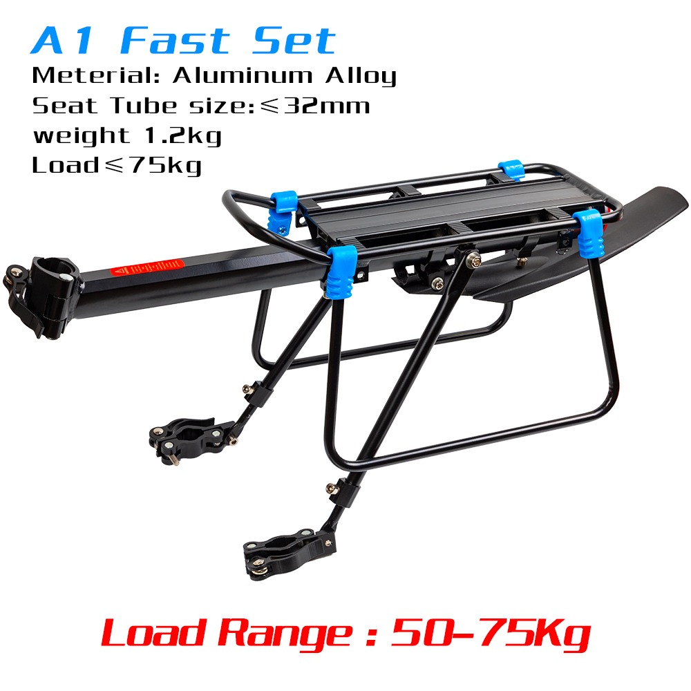 free shipping fender Bicycle Luggage Carrier Cargo50kg 75KG Load Rear Rack Road MTB Shelf Cycling Seatpost