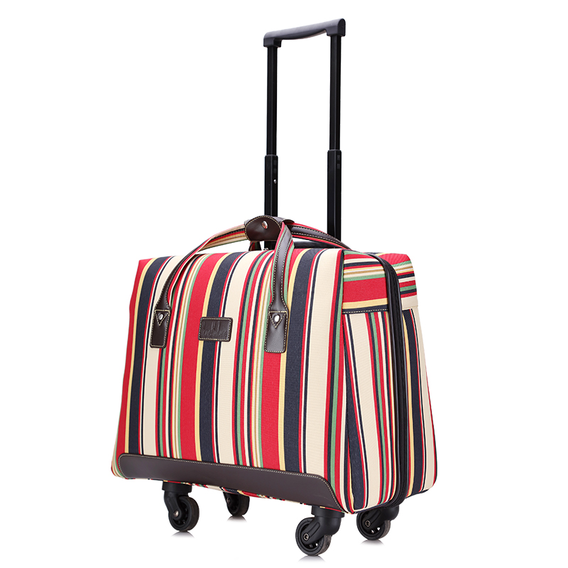 LeTrend Women Super light Rolling Luggage Spinner Striped Oxford Trolley 18 inch Travel Bag Suitcase Wheels