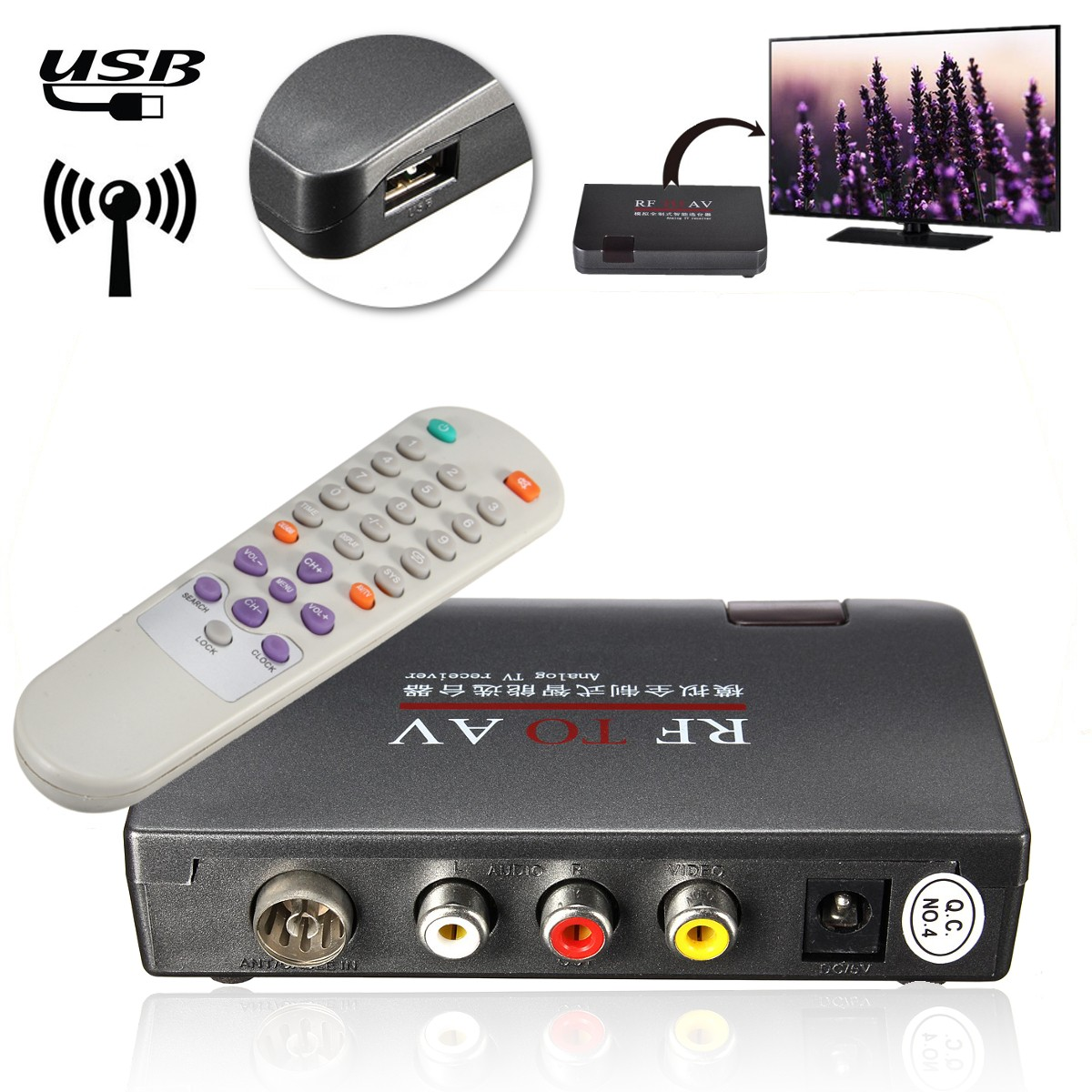 AC110V-AC240V RF TO AV Receiver RF To AV Analog Cable TV Receiver Converter USB With Remote Control Whole Rule