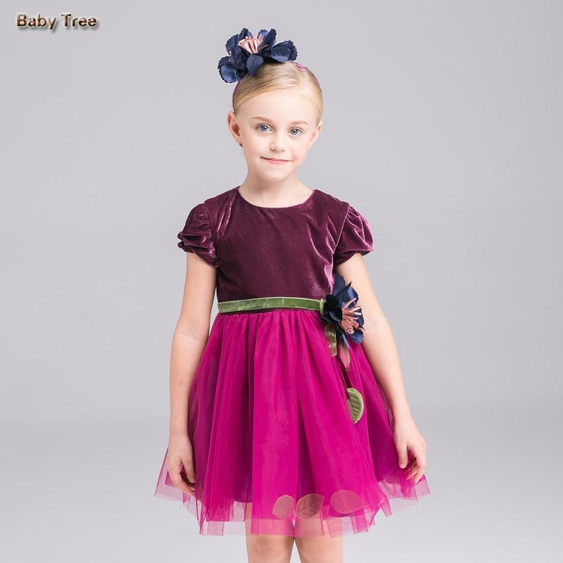 3-10 gadi Pusaudžu meitenes princeses kleita Pavasara vasaras velveta Liela puķu bumba kleita Kleita bērniem puse dzimšanas dienā