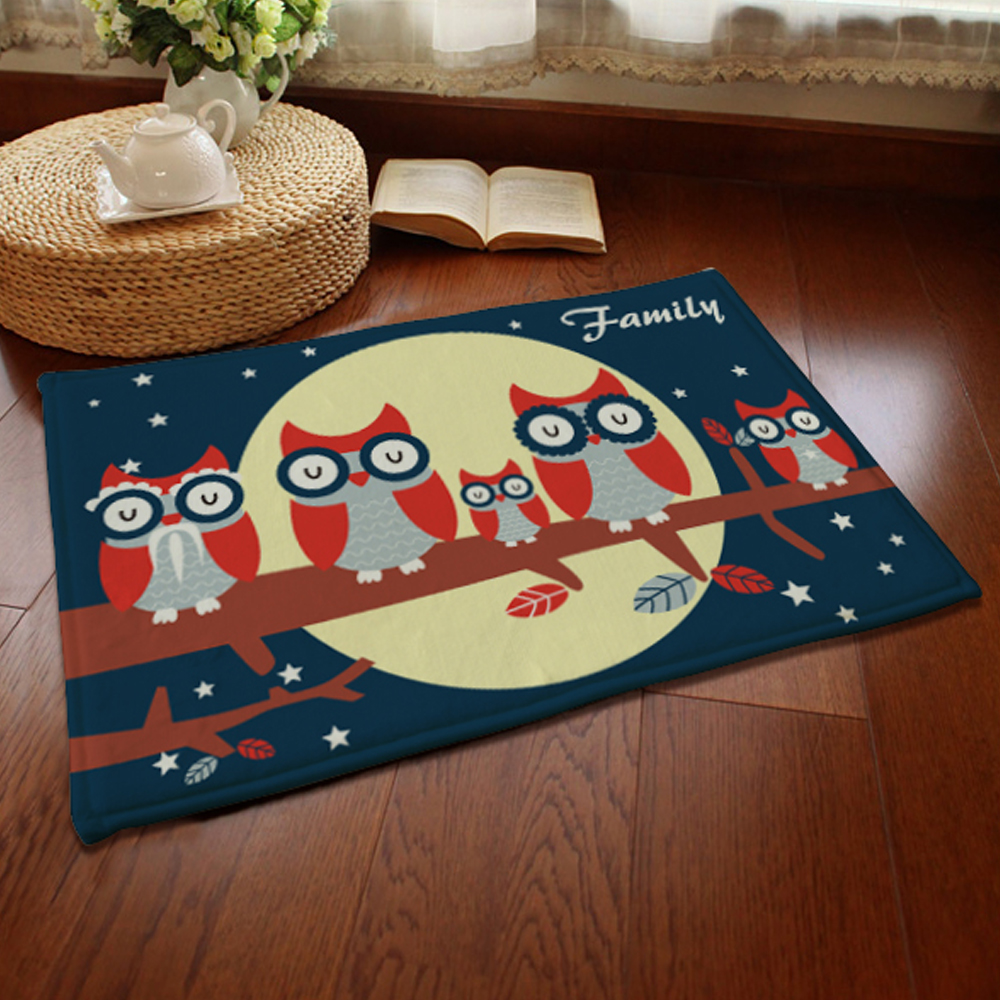 ᓂyazi Owls Family Balcony Floor ᗐ Mat Mat Rug Soft Plush