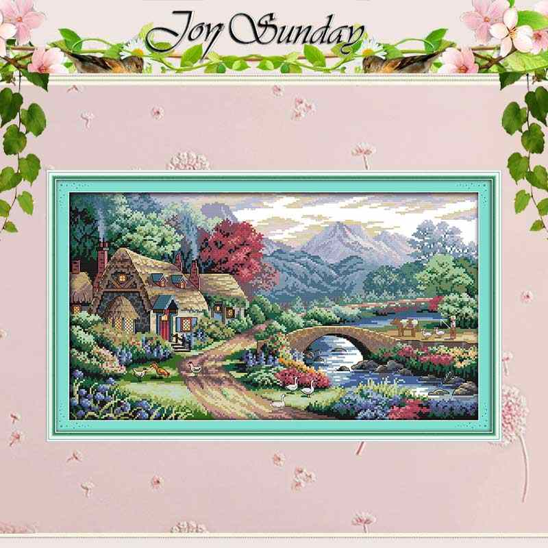 NEW !!Farm scene Counted Cross Stitch 11 14CT Cross Stitch Sets landscape Cross Stitch Kits for Embroidery Home Decor Needlework