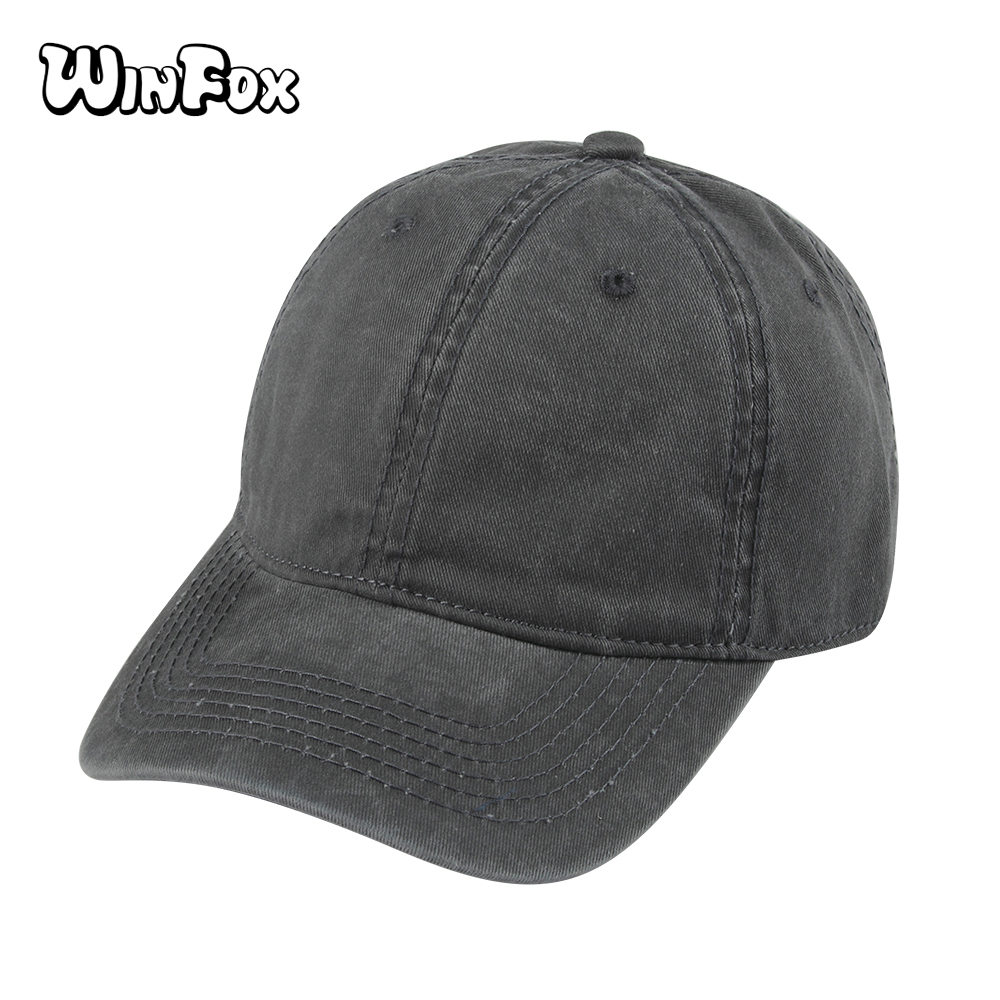 Winfox New Brand Summer Black Grey Navy Solid Color Casquette Gorras Blank Baseball Caps Washed Denim Caps Dad Hats Mens Womens