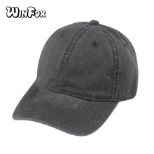 Winfox New Brand Summer Black Grey Navy Solid Color Casquette Gorras Blank Baseball Caps Washed Denim Dad Hats Mens Womens