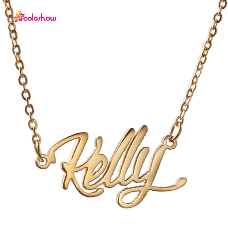 Aoloshow women letter necklace script gold color name