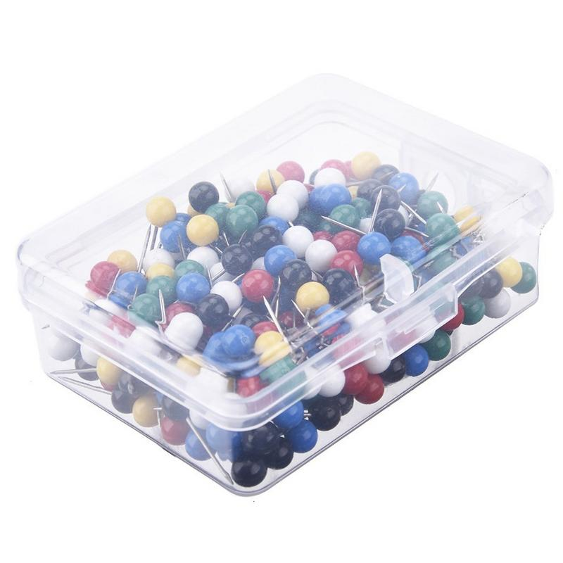 300 PCS/set Map Pin Metal Color Pin Thumbtack Map Mark With 1/ 8 Inch Head And Steel Point Standard Pin School Office Supplies