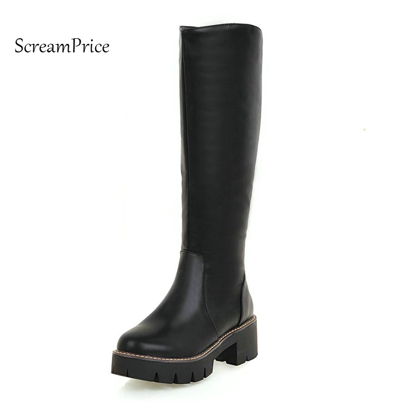 Woman Platform Square Heel Slip On Knee High Boots Fashion Round Toe Dress Winter Calf Boots Black Brown Gray Beige woman winter warm platform height increasing slip on snow boots fashion round toe dress calf boots black pink white