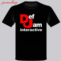 New Def Jam Recordings Interactive Music Logo Men S Black T Shirt Size S 3XL