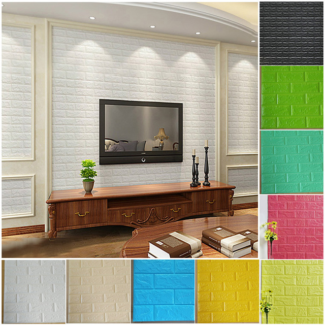 waterproof pe foam 3d wall stickers home decor wallpaper diy brick