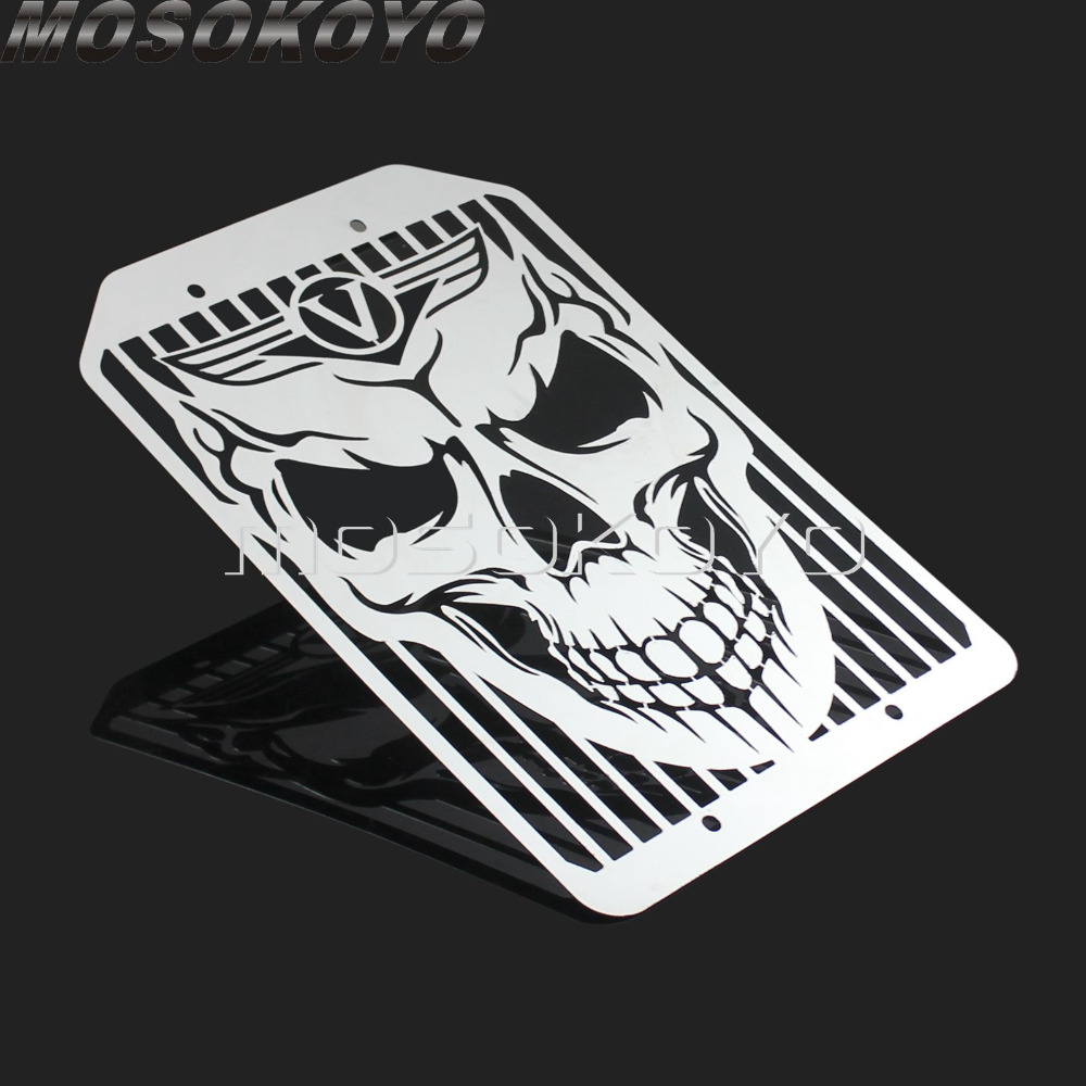 Skull Stainless Steel Motorcycle Skeleton Radiator Grill Mesh Water Cooler Cover Guard for Kawasaki <font><b>VN1500</b></font> VN 1700 All image