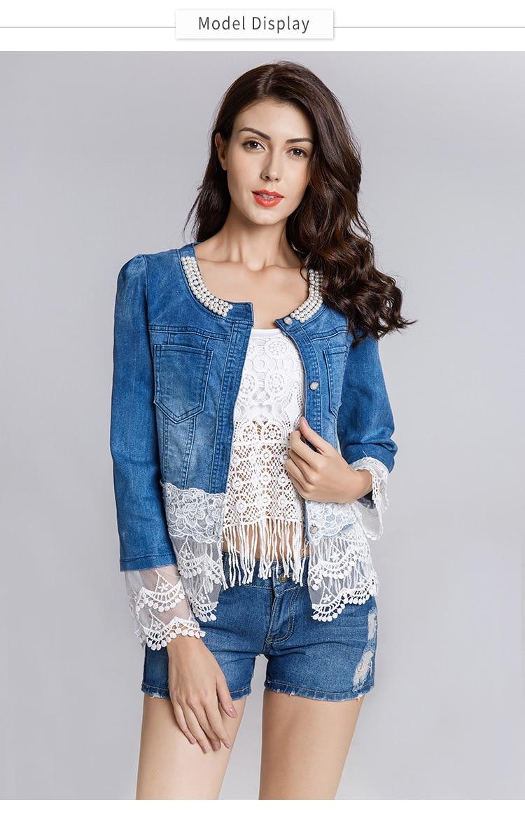 2019 Nova Jaqueta Jeans Mulheres Casacos Feminino Magro Patchwork Rendas Beading Denim Casaco Casacos de Senhora Elegante Do Vintage DropshipWWJ084