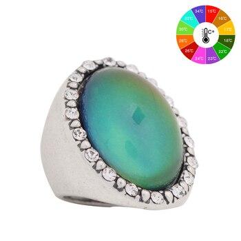 Размер 7 8 9 моды годовщина посеребренные ювелирные изделия стерлингового серебра цвет изменение настроения кольцо кольца мужские кольца женские MJ-RS027