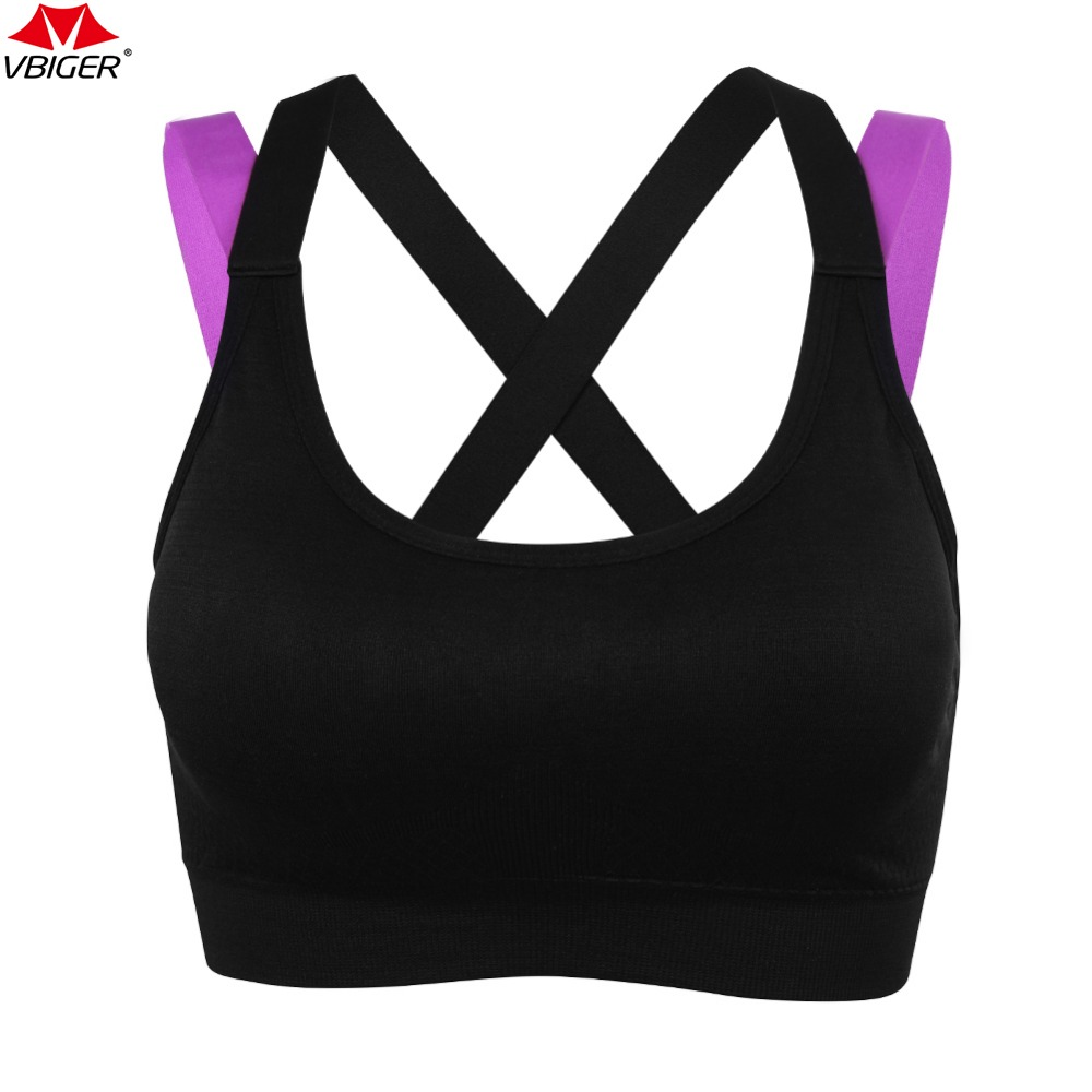 Vbiger Women Sports Bras Cross Back Running Gym Fitness Yoga Bra Wireless Sports Racerback Exercise Bra neon pink cross back design sports bra