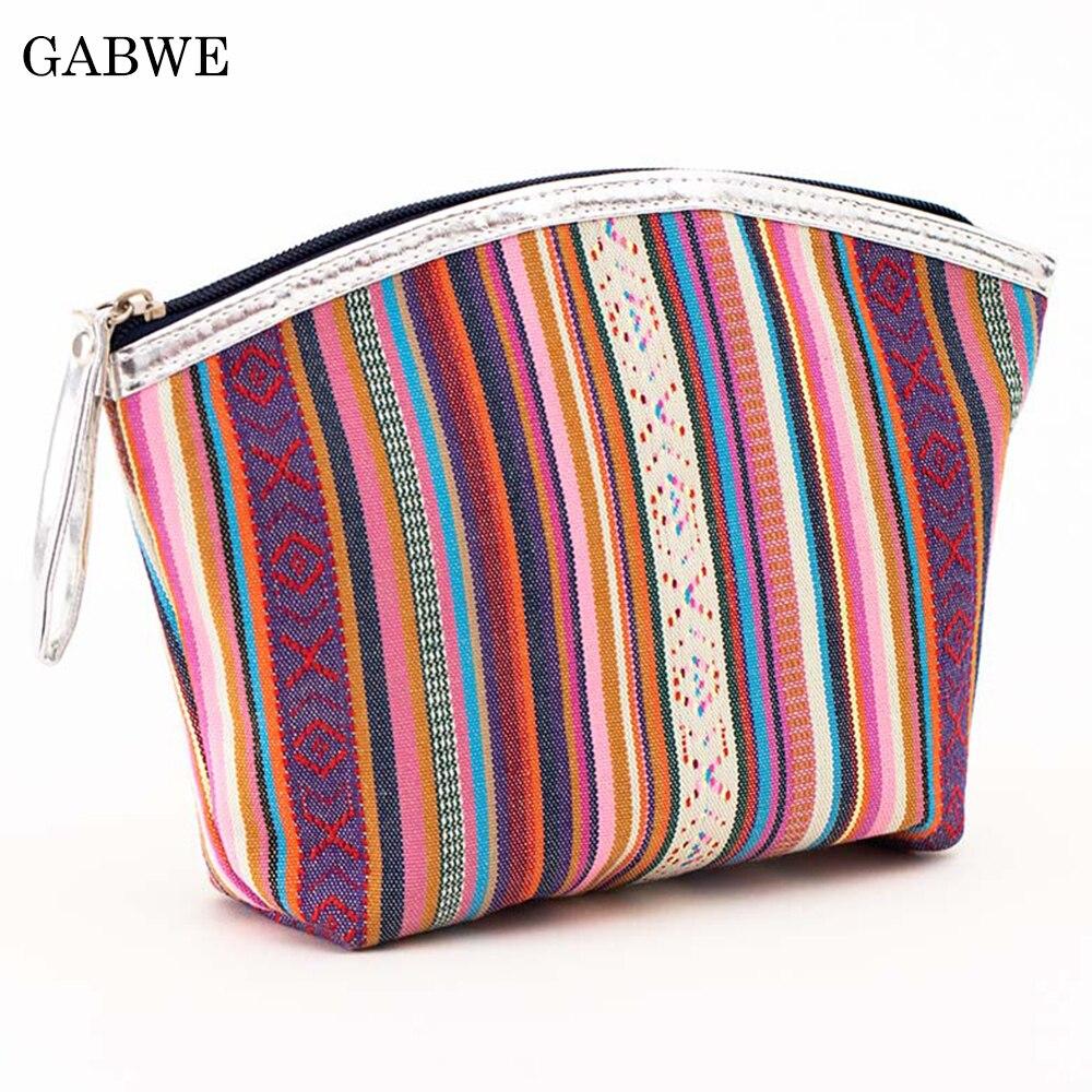 GABWE Female Vintage Cosmetic Bag Cotton Portable Retro Makeup Bag Beauty Organizer Travel Pouch Necessarie Toiletry Wash Bag