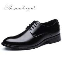 BIMUDUIYU Luxury Brand Classic Man Pointed Toe Dress Shoes Mens Patent Leather Black Wedding Shoes Oxford
