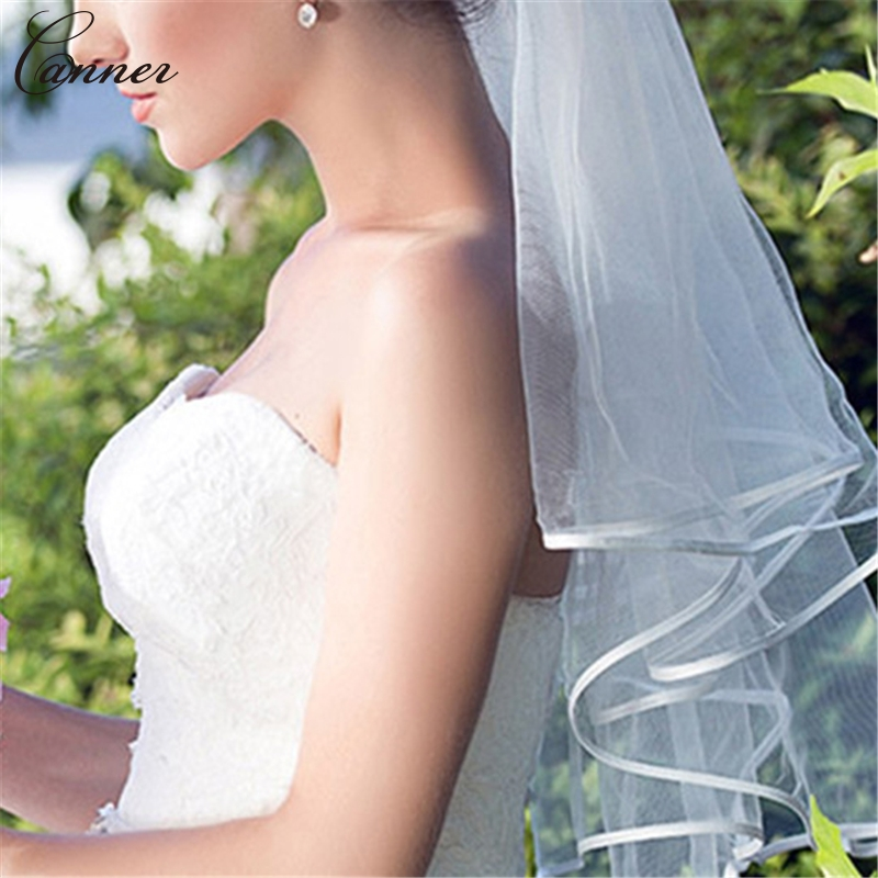 135cm White Wedding Veils With Ribbon Edge Simple One Layers Tulle Bridal Veils Short Women Wedding Accessories Q40