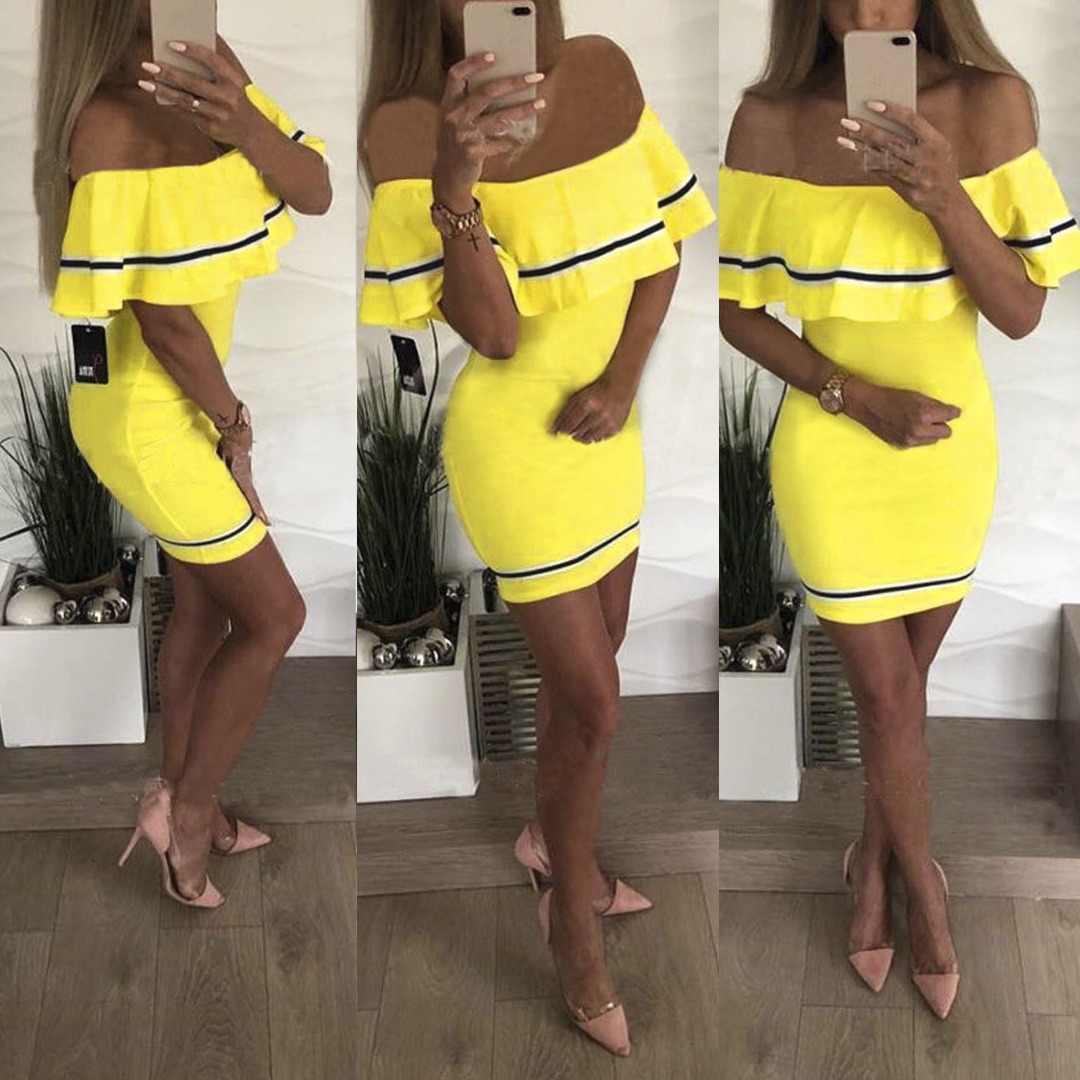 Женское платье с оборками, сексуальные женские; с открытыми плечами, мини-платье Boodycon, женские летние повседневные платья, желтые, красные, черные вечерние платья