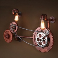 Loft Style Wooden Water Pipe Lamp Edison Wall Sconce Retro Axle Gear Wall Light Fixtures For Home Vintage Industrial Lighting