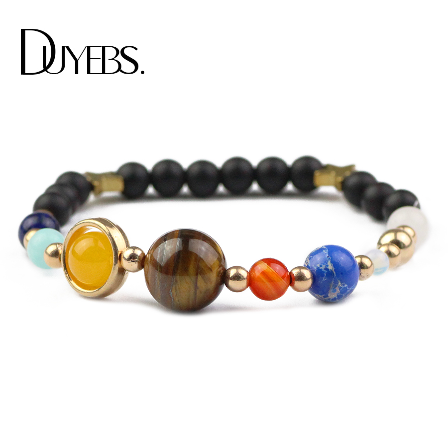 DUYEBS Universe Galaxy Eight Planets Solar System Guardian Star Natural Stone Beads Bracelet Bangle for Women Men jewelry Gift