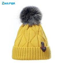 ZMAFOX beanie cap for baby girl boy winter thermal hats pompom soft skullies beanies faux woolen ins hot children ears warm hat