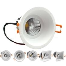 LEDIARY 85-265V LED COB Downlight High Lumen Aluminum Housing Recessed Dimmable 75mm 95mm Hole Spot Lamp 5W/10W/15W Light Source