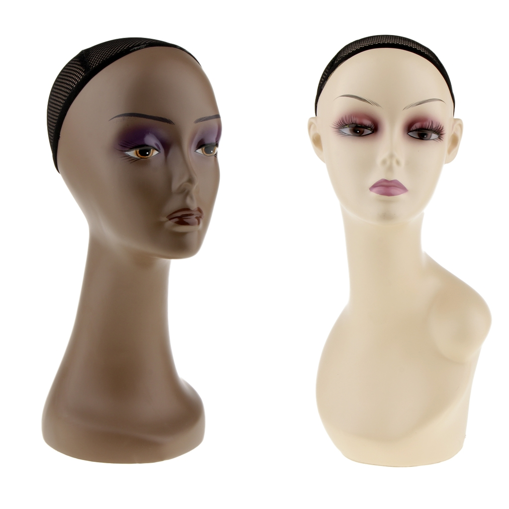 2x Female Mannequin Head Women Manikin Model Hair Wigs Glasses Scarf Display with Net Cap