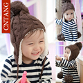 New 2016 Boys Winter Pure Color Children Ear Cap Kids Warm Knitted Hats Wool Pompons Cap Girls Plus Velvet Beanies