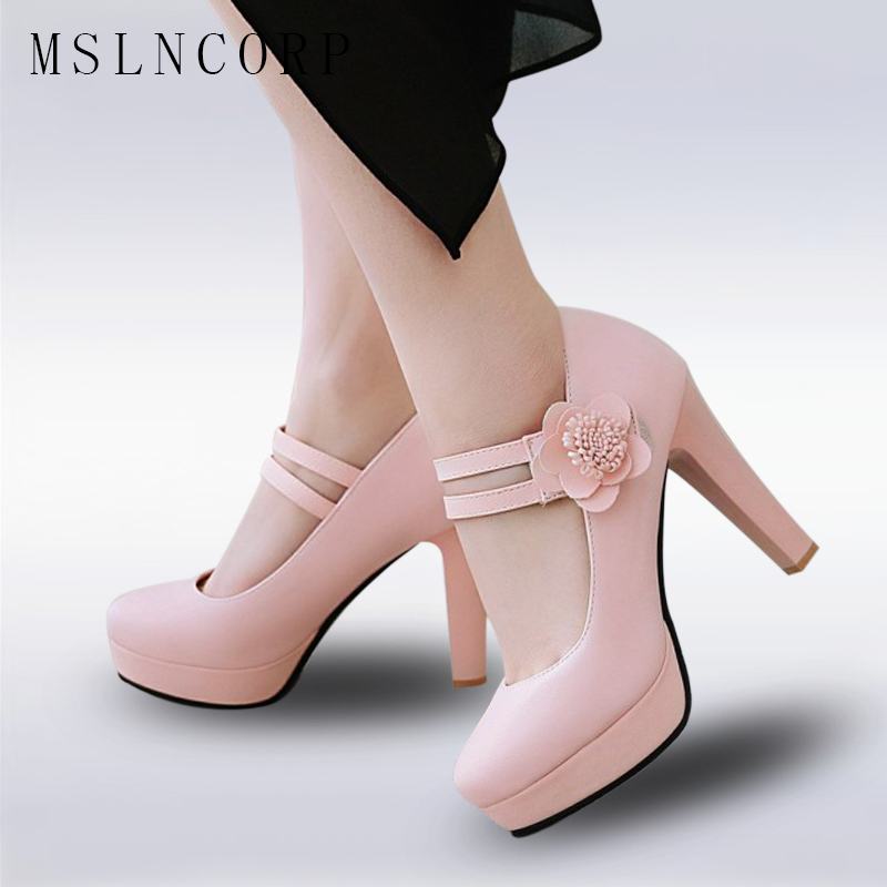 Plus Size 34-48 Woman High Heels Platform Shoes Sweet Princess Party Sh