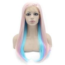 K02 24″ Straight Pink Light Blue Light Purple Mix Color Synthetic Lace Front Wig Heat Resistant Heavy Density kanekalon Lady Wig