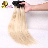Facebeauty T1B/613 1 ST Ombre Blond Haar Bundels 2 Tone Donkere Wortels Platina 613 Steil Haar Braziliaanse Remy menselijk Haar Weave