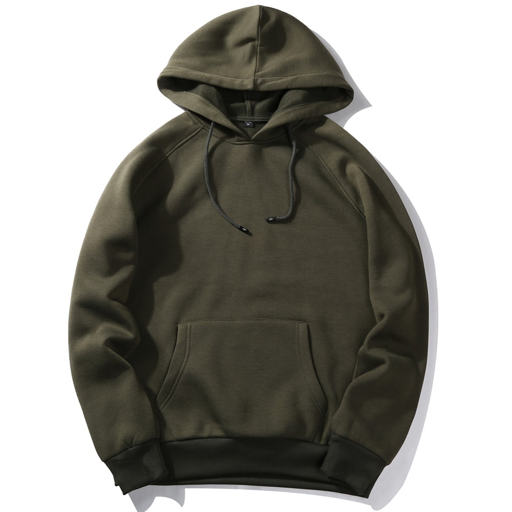 USA SIZE Fashion Color Hoodies Men's Thick Clothes Winter Sweatshirts Men Hip Hop Streetwear Solid Fleece Hoody Man Clothing