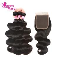 Human Hair Bundles With Closure Body Wave Brazilian Hair Weave 3 Bundles With Closure Queen Mary
