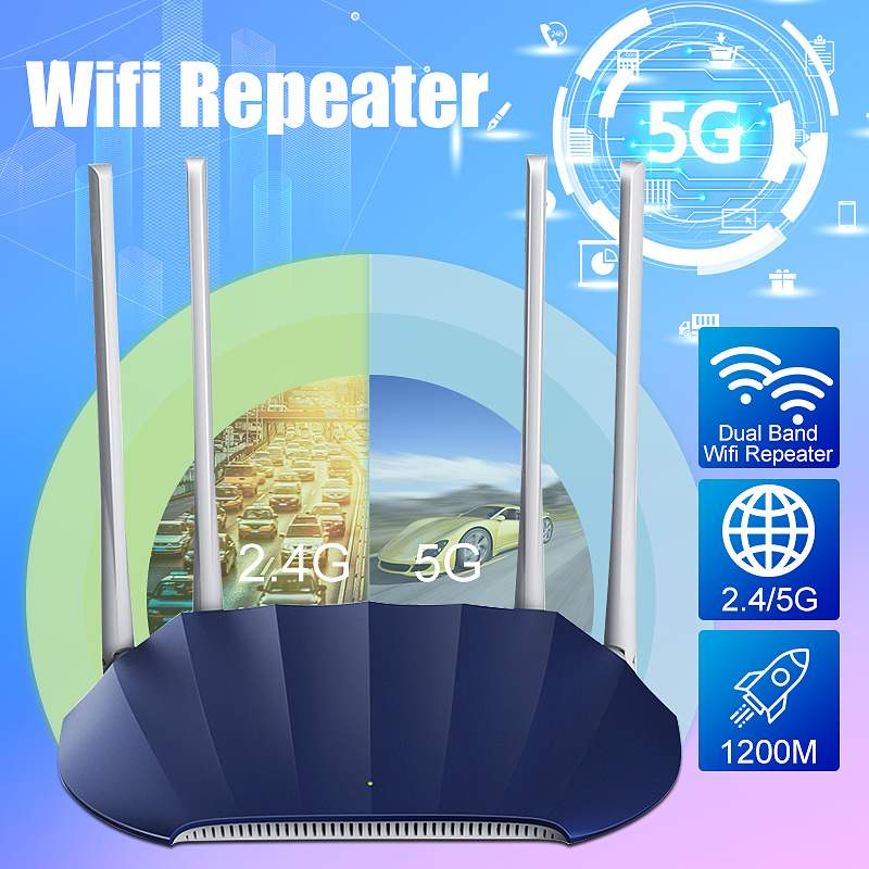 1200M Gigabit Dual Band 2.4GHz 5GHz High-Power Wireless WIFI Router High Speed Extender Repeater image