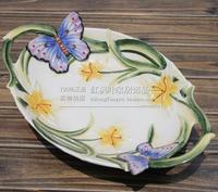 세라믹 크리 에이 티브 나비 과일 사탕 보관 접시 디저트 스낵 샐러드 접시 홈 장식 웨딩 장식 수공예 입상