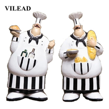 VILEAD 26cm 2Pcs/Set Resin Wall Hanging Chef Figurines Vintage Creative Ornaments For Home Christmas Decoration Supplies Gifts
