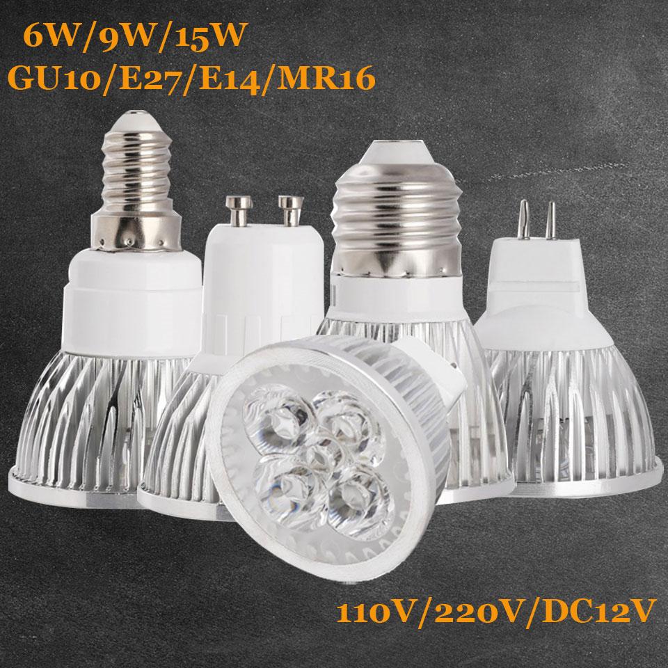 Dimmable LED Spotlight Bulbs GU10 MR16 E27 E14 B22 15W 12W 110V 220V Black Lamp
