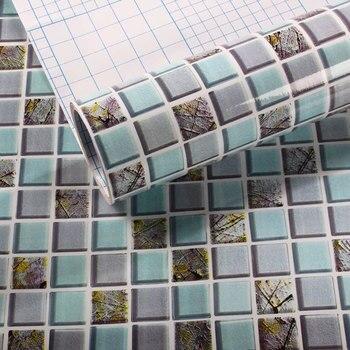 Mosaico azul de diamantes, azulejos de cocina, Adhesivo de pared, resistente al aceite impermeable, papel de pared de baño autoadhesivo, decoración del hogar, 60*200cm
