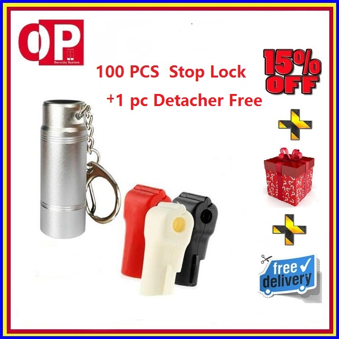 Hot Selling 100pcs Retail Loss Prevention Lock Display Security EAS Hook Stop Lock +1pc Detachers