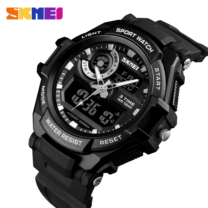 SKMEI Watch Men Quartz Dual-Display S-Shock Big-Dial Military Waterproof Relogio Masculino
