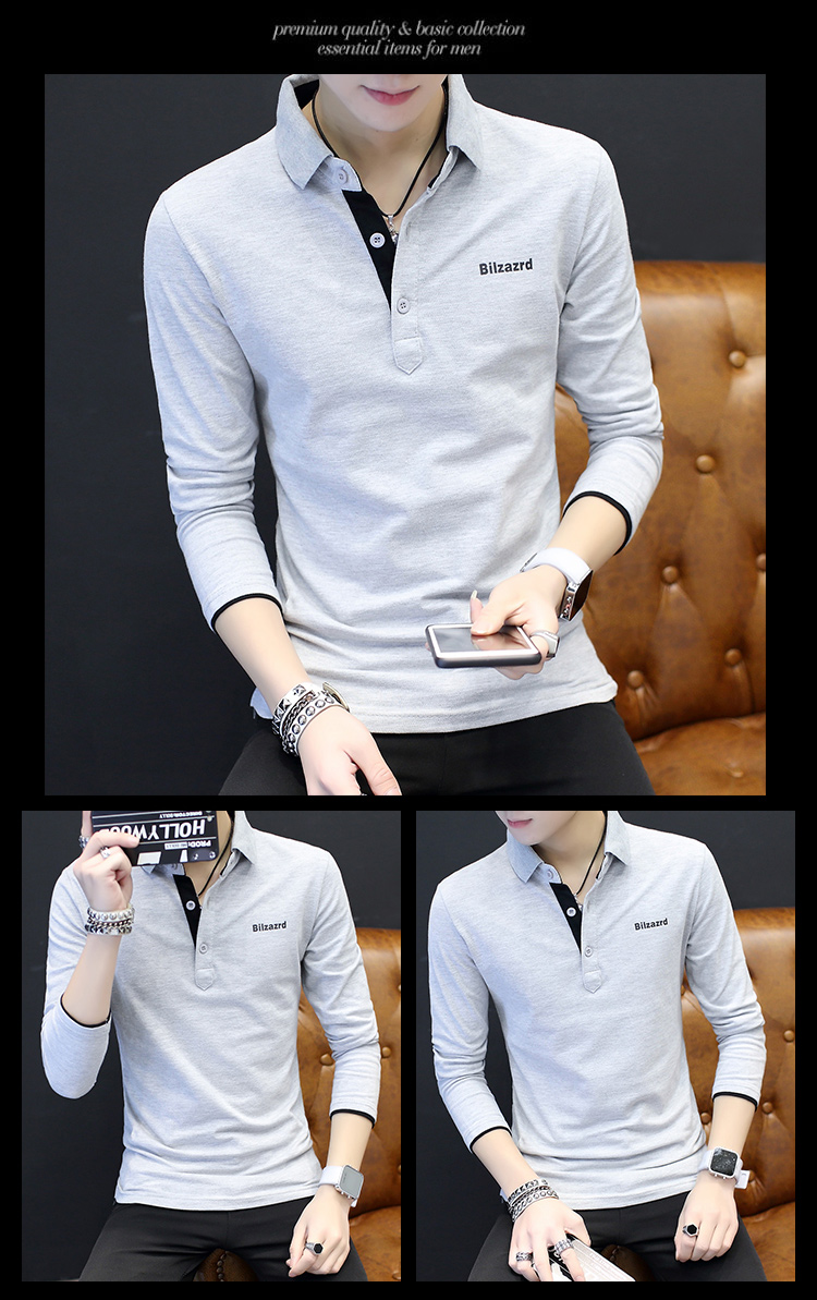 2019 men splicing t-shirts with short sleeves Comfortable in summer youth leisure lapel t-shirts 44