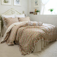 New rustic printed flower bedding set lace ruffle duvet cover princess bedspread bed skirt beautiful dobby home textile