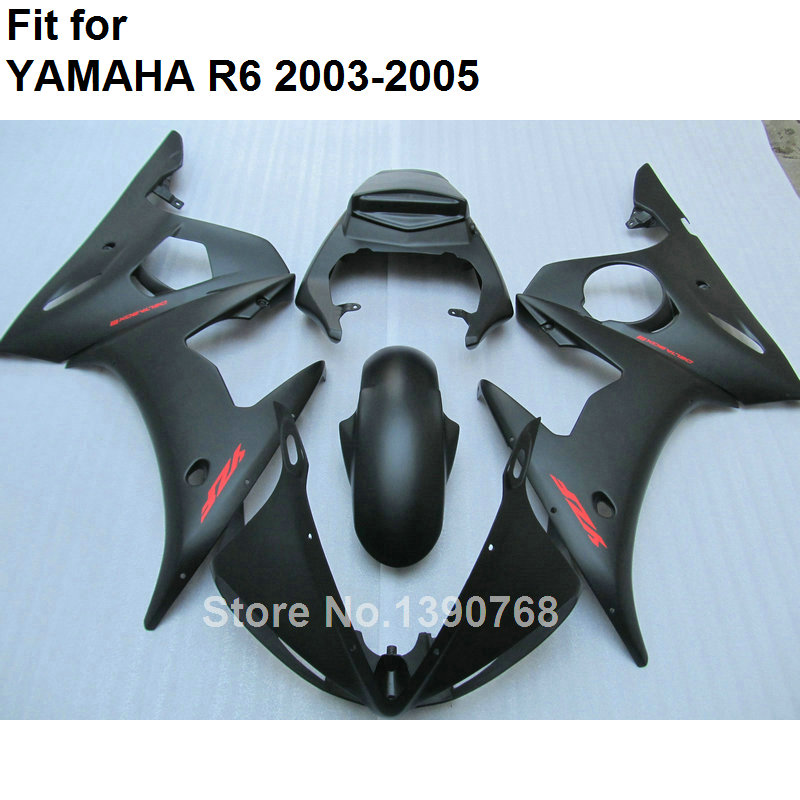 Hot sale fairings for Yamaha YZF R6 2003 2004 2005 matte black body work parts fairing kit YZFR6 03 04 05 BC32