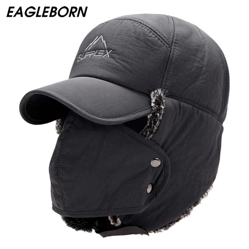 6f14e280800fb8 ... Winter Hat Bomber Hats For Men Women Thicken Balaclava Cotton Fur Winter  Earflap Keep Warm Caps ...