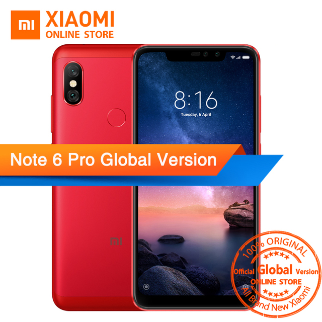 "Global Version Xiaomi Redmi Note 6 Pro Snapdragon 636 Octa Core 3GB 32GB 6.26"" Notch Full Screen Dual Camera 4000mAh Fingerprint"