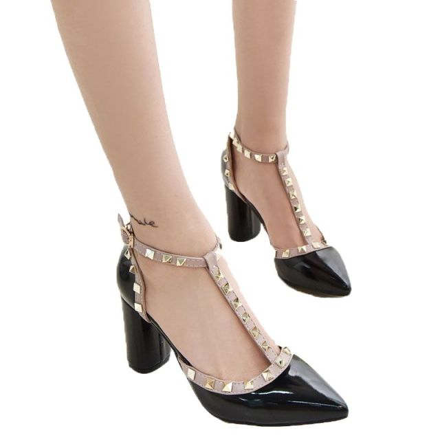 00f19d46a2ce New Free shipping 5CM 2017 Pumps new shoes T belt buckle hollow rivets pointed  high-heeled patent leather high heels shoes women
