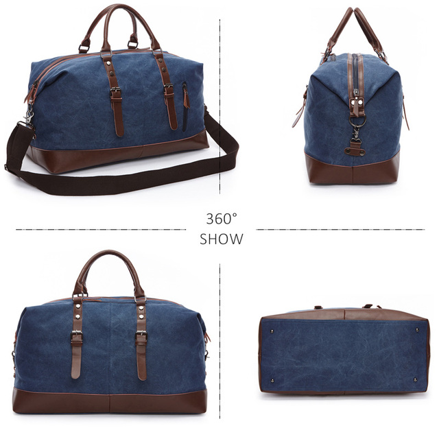Scione Men Canvas Travel Shoulder Luggage Bags Large Capacity Handbag Business Casual Vintage Leather Simple Tote Bag For Women 4