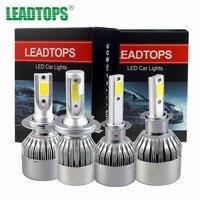 LEADTOPS COB LED Headlight H4 60W 6400LM All In One Car LED Headlights Bulb H7 Head