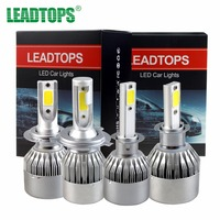 LEADTOPS COB LED Headlight H4 60W 6400LM All In One Car LED Headlights Bulb H7 Head
