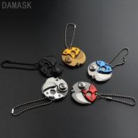 DAMASK Brand 5 PCS Set EDC Pocket Folding Knife Stainless Steel Keychain Coin Knife Outdoor Survival