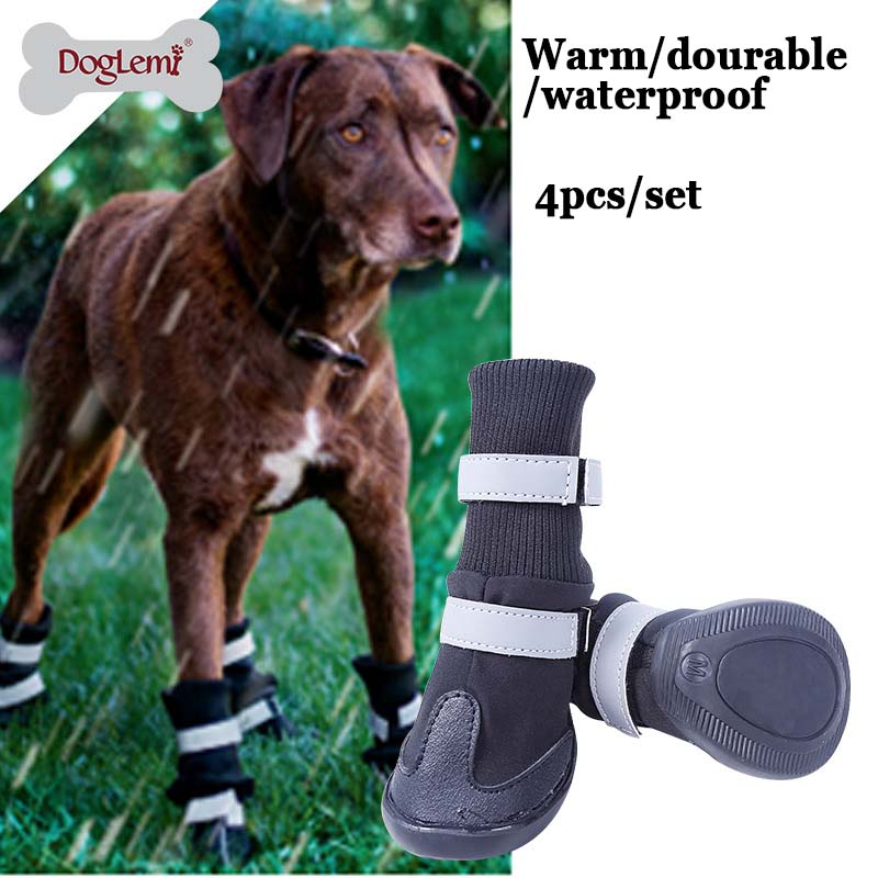 Large Big Dog PU leather sport Shoes Winter Waterproof Pet dog Puppy Martin boots non-sl ...